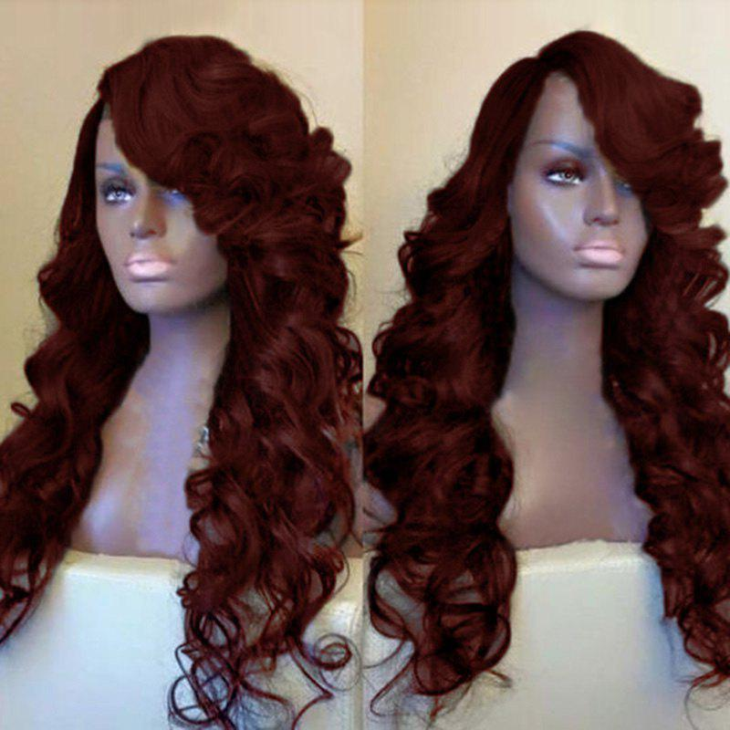 Side Parting Shaggy Long Loose Wave Synthetic Wig - WINE RED