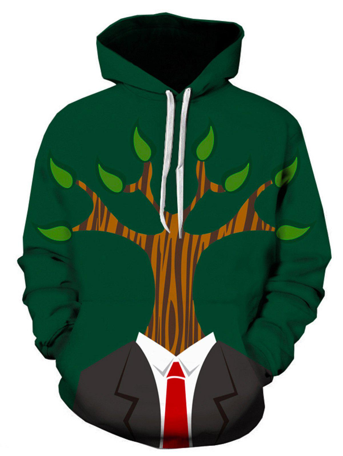 Tree Man 3D Print Pullover Hoodie 3d two cats style hoodie for man