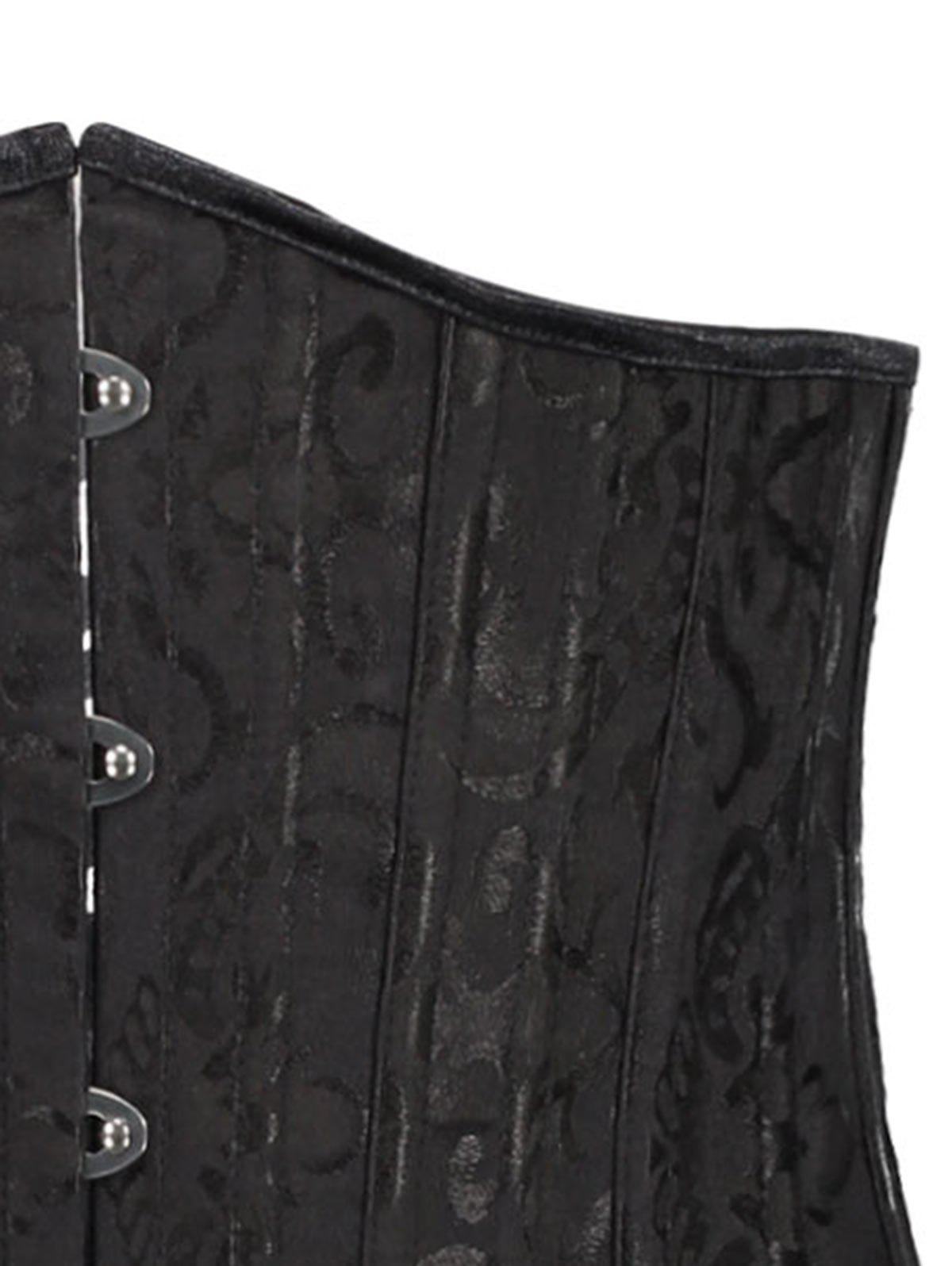 Lace Up Steel Boned Jacquard Waist Slimming Corset - BLACK XL
