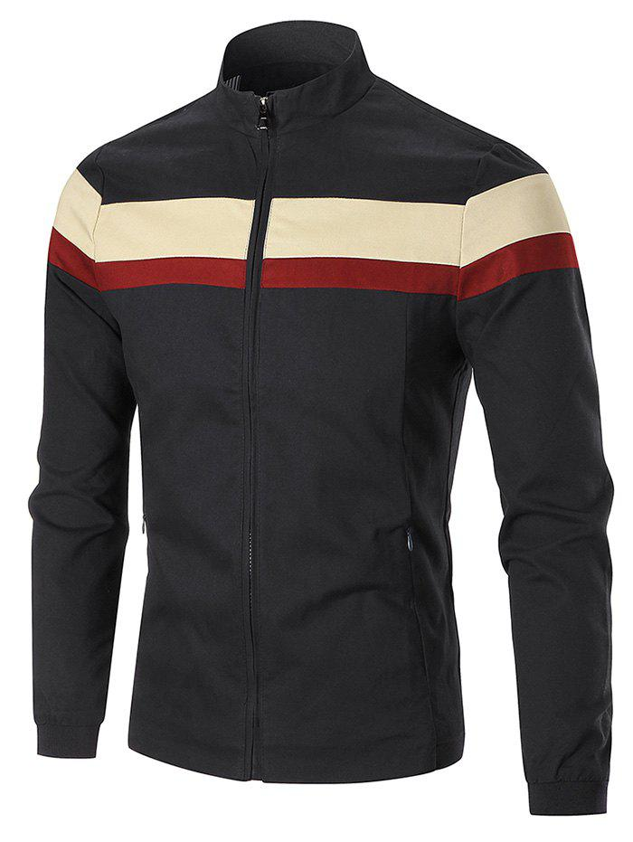 Stand Collar Color Blocked Jacket - BLACK 5XL