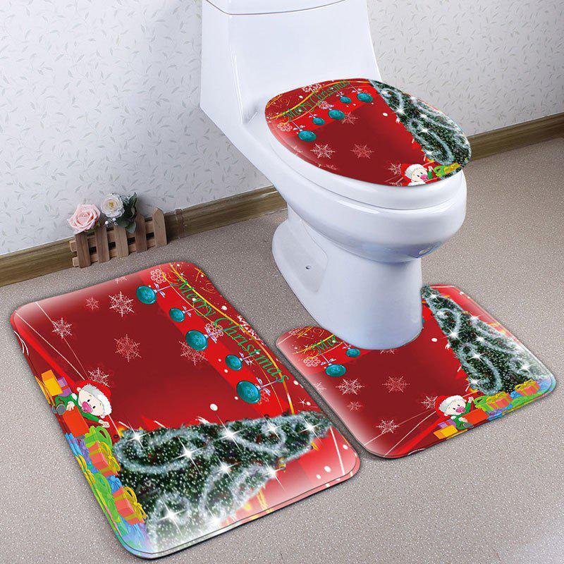 3Pcs Flannel Christmas Printed Toilet Bath Rugs Set - RED