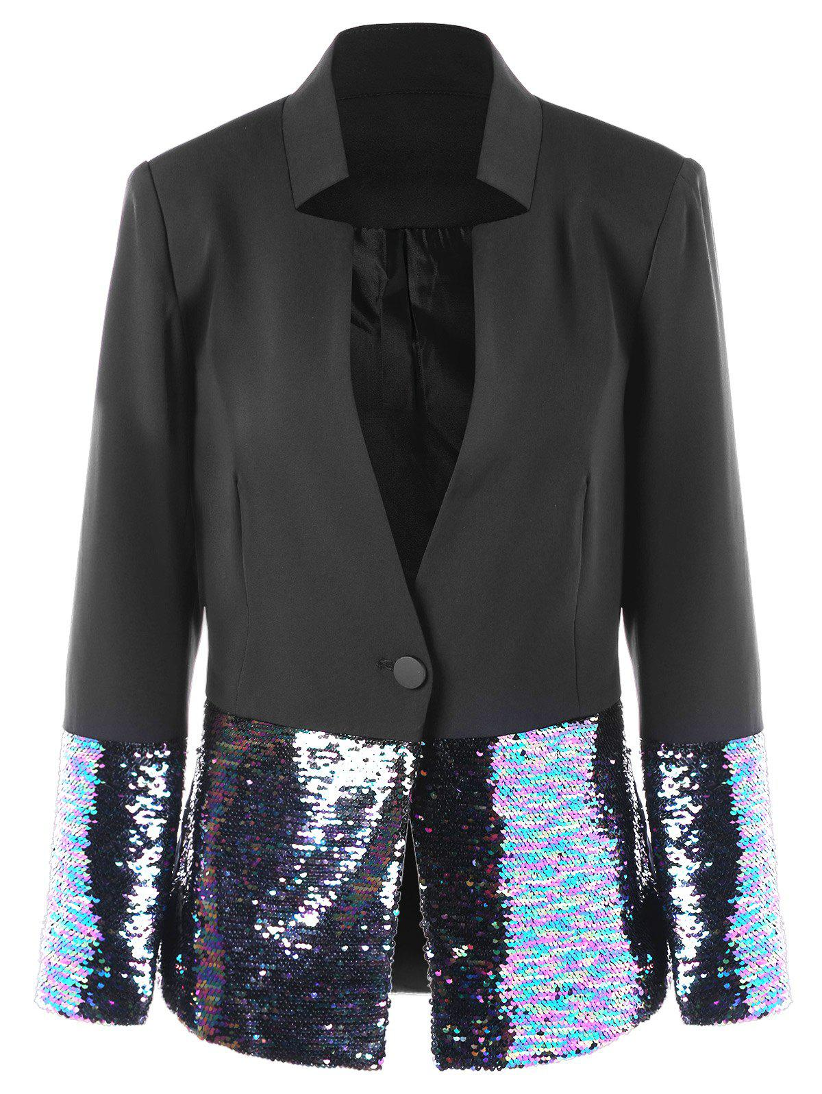 One Button Sequined Hem Blazer - BLACK M