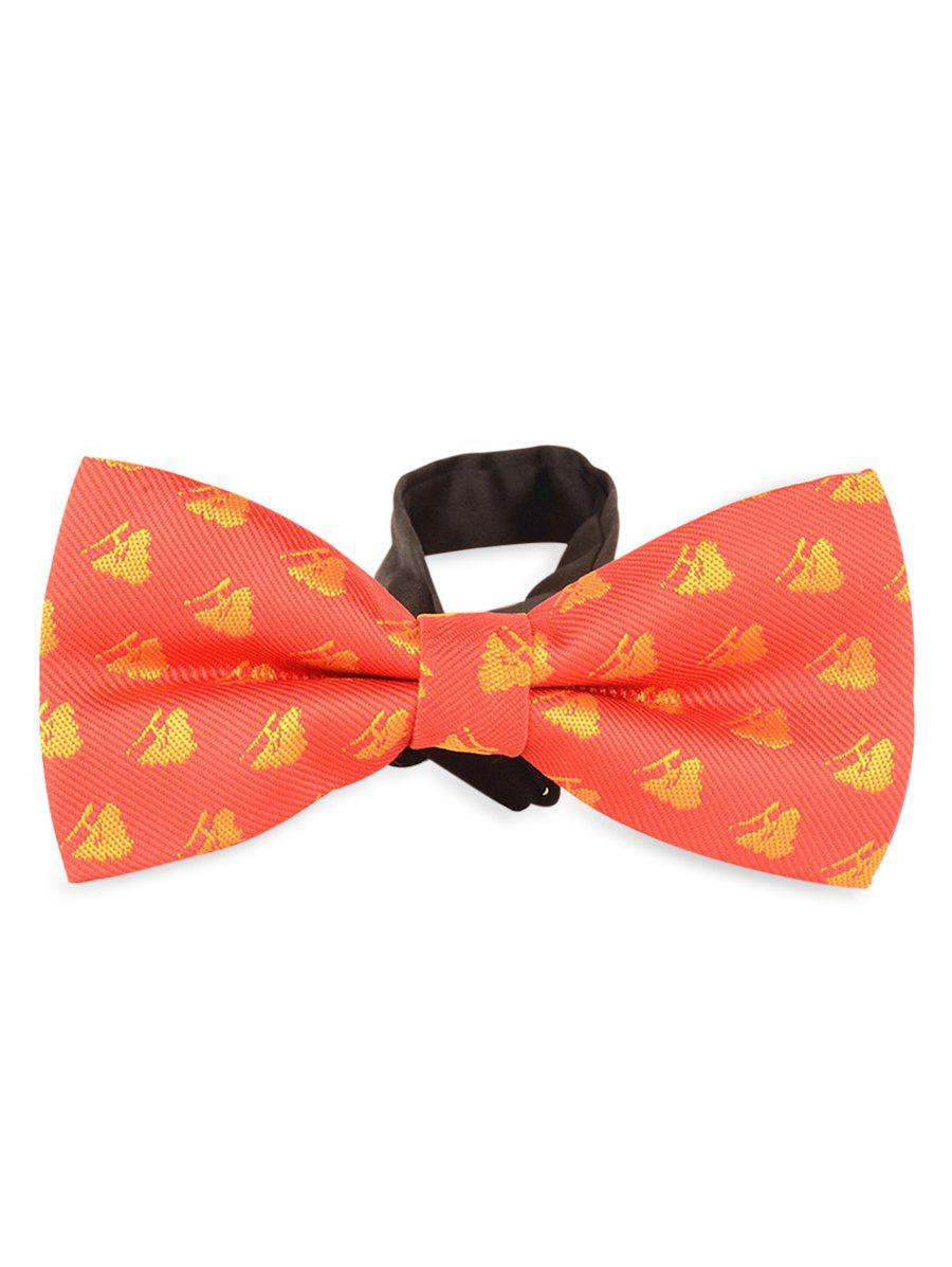 Novelty Christmas Bowtie with Christmas Trees Decorated - RED