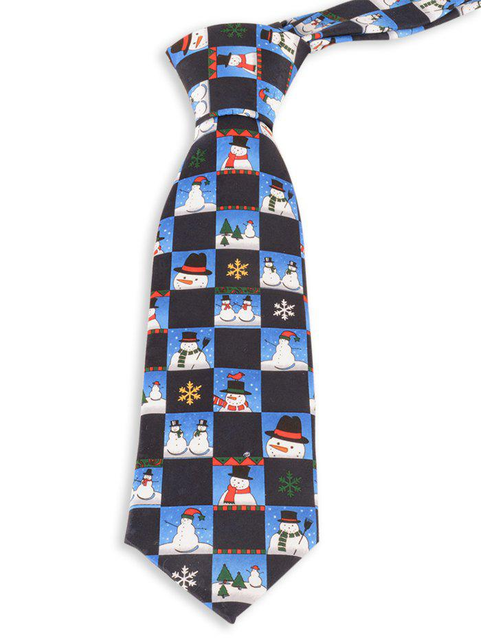 8.5CM Width Christmas Snowman and Snowflake Pattern Christmas Necktie