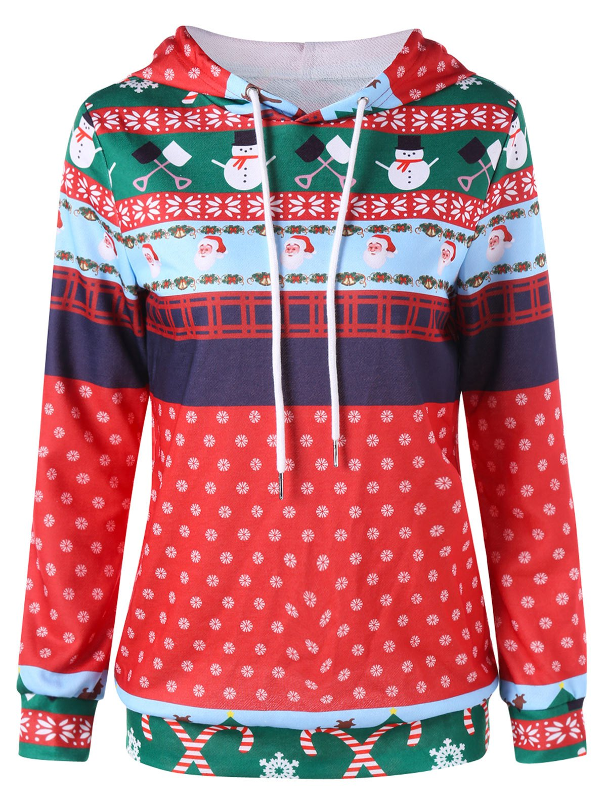 Christmas Print Pullover Hoodie - COLORMIX M