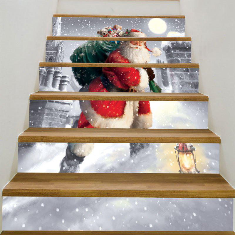 Santa Claus Walking In the Snow Pattern Stair Stickers fat santa claus pattern door cover stickers