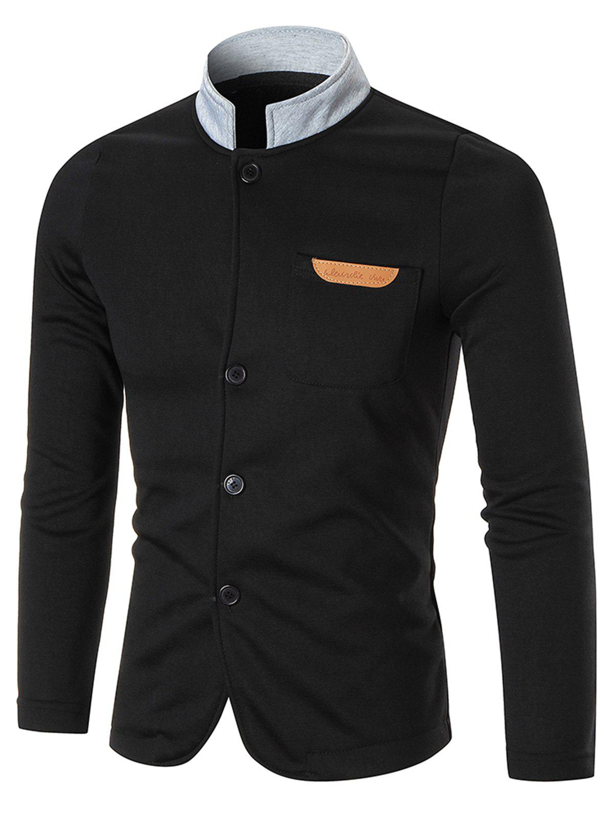 Chest Pocket Contrast Collar Button Up Jacket - BLACK 2XL