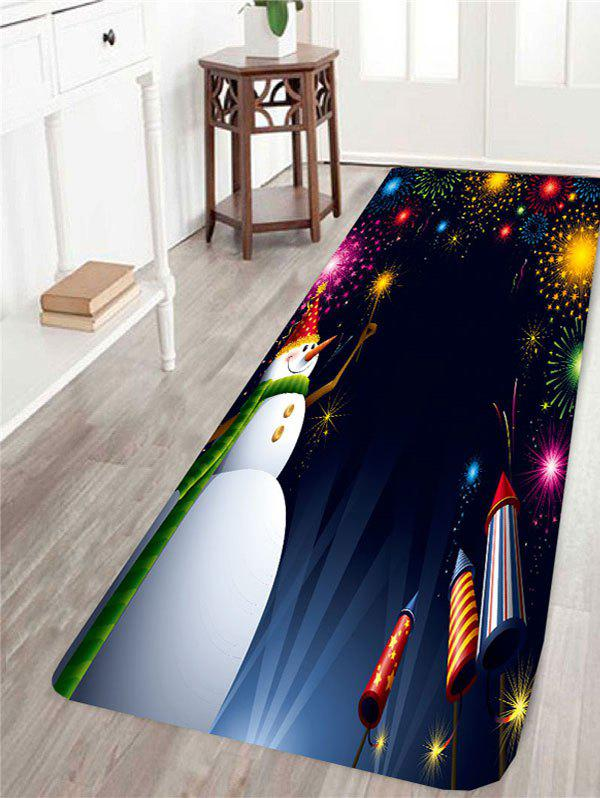 Skidproof Christmas Fireworks and Snowman Pattern Rug - COLORFUL W24 INCH * L71 INCH