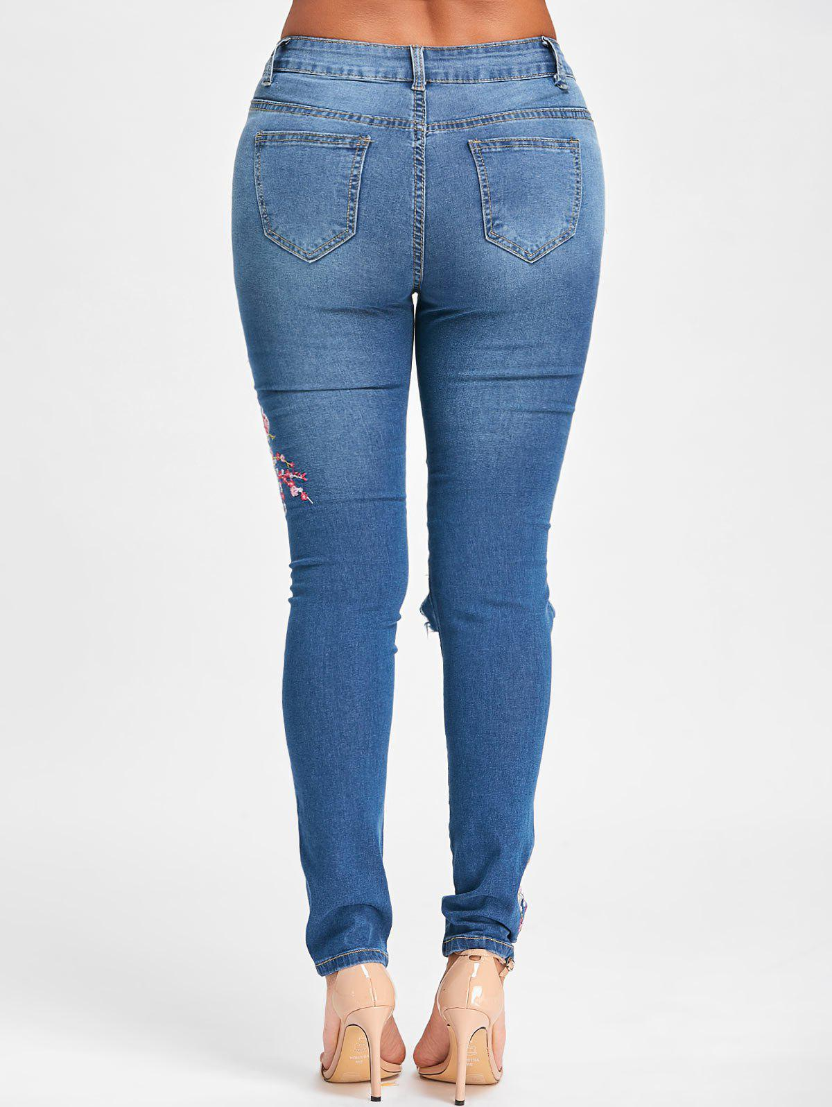 Floral Embroidery Ripped Denim Jeans - BLUE M
