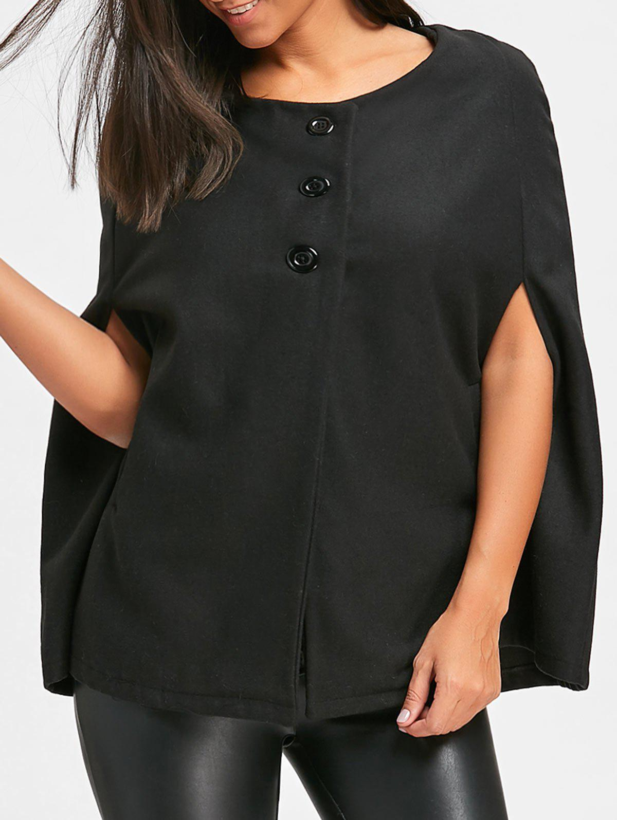 Button Tunic Wool Cape Coat - BLACK XL