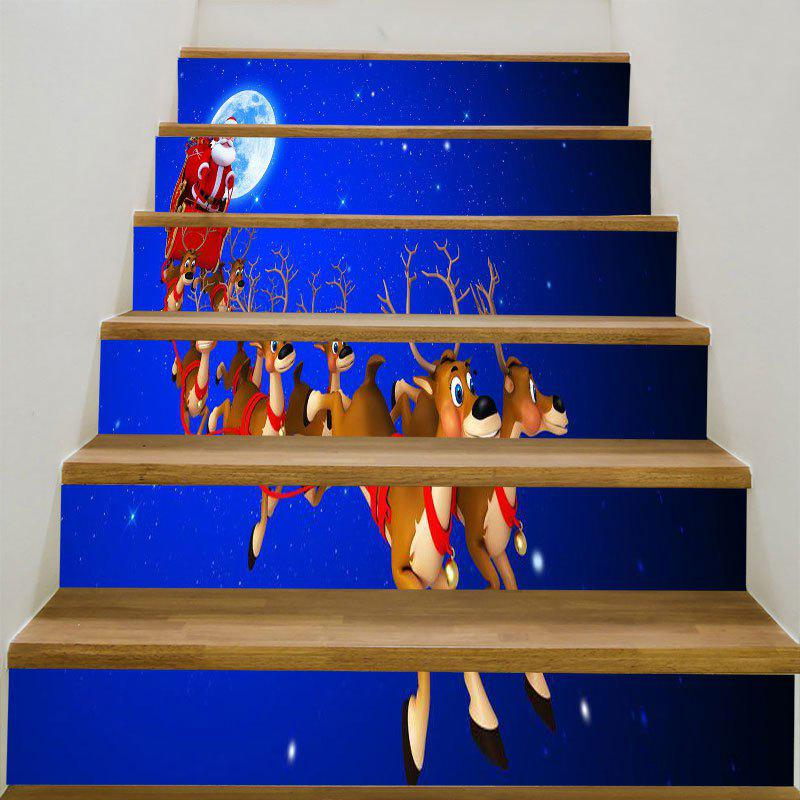 Starry Moon Night Christmas Sleigh Printed Stair Stickers putti starry night 120x60 8 предметов