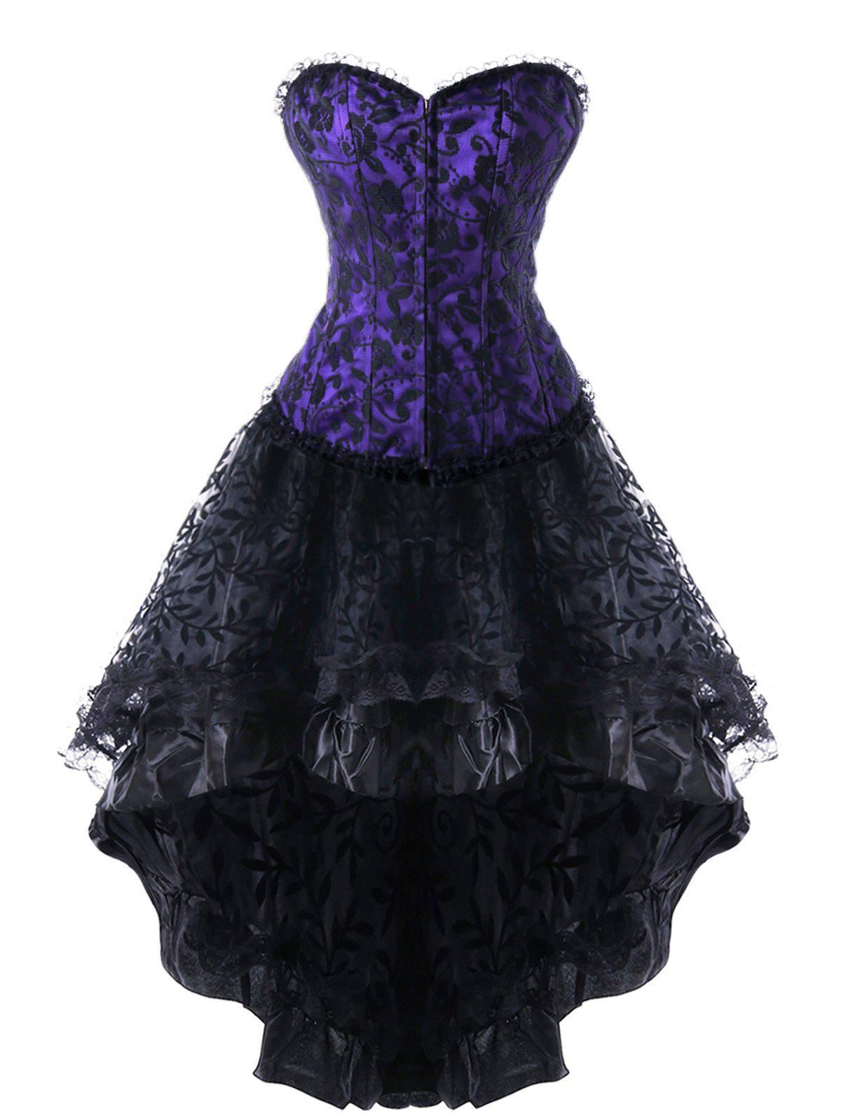 Strapless High Low Lace Up Steel Boned Corset Dress - PURPLE M