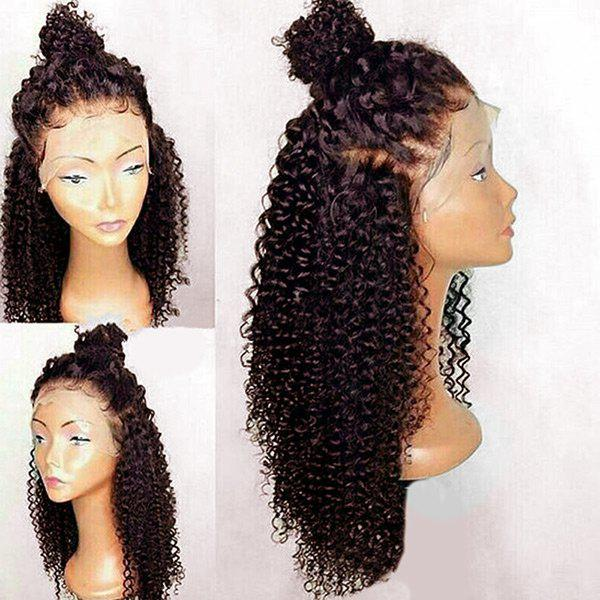 Free Part Long Curly Lace Front Synthetic Wig long free part fluffy kinky curly synthetic lace front wig