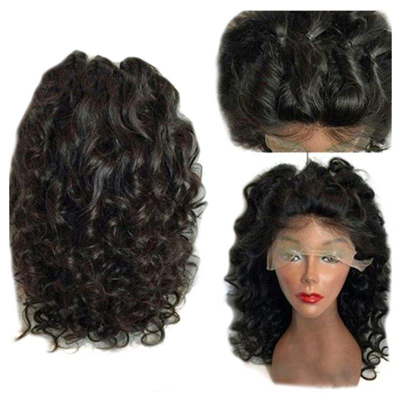 Free Part Shaggy Long Loose Curly Lace Front Synthetic Wig - NATURAL BLACK