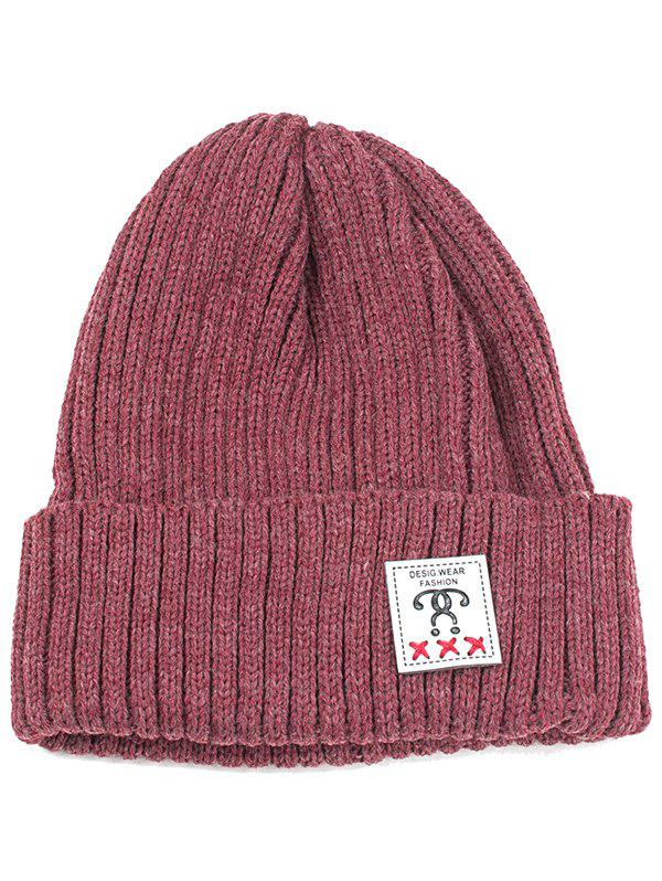 Outdoor Letter Label Decorated Flanging Knitted Beanie - WINE RED