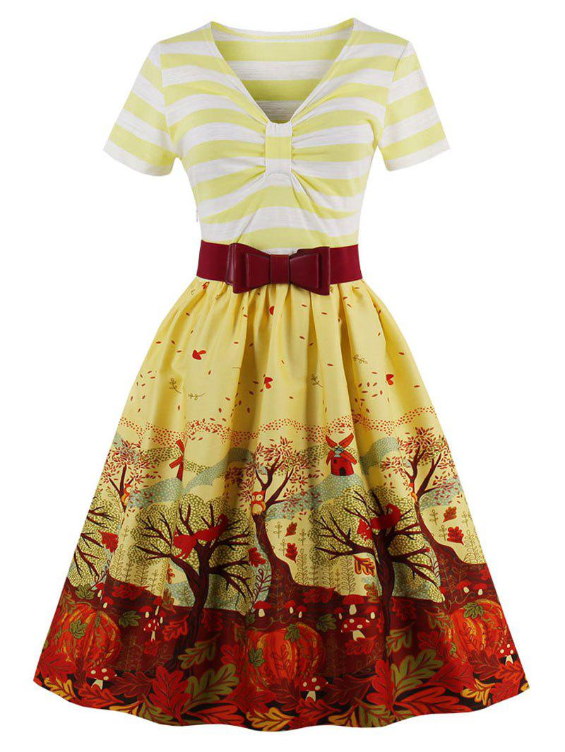 Vintage Striped Elk Forest Print Christmas Pin Up Dress - YELLOW 2XL