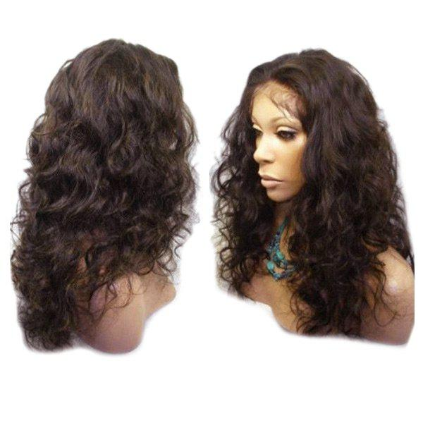 Long Center Parting Fluffy Wavy Synthetic Lace Front Wig