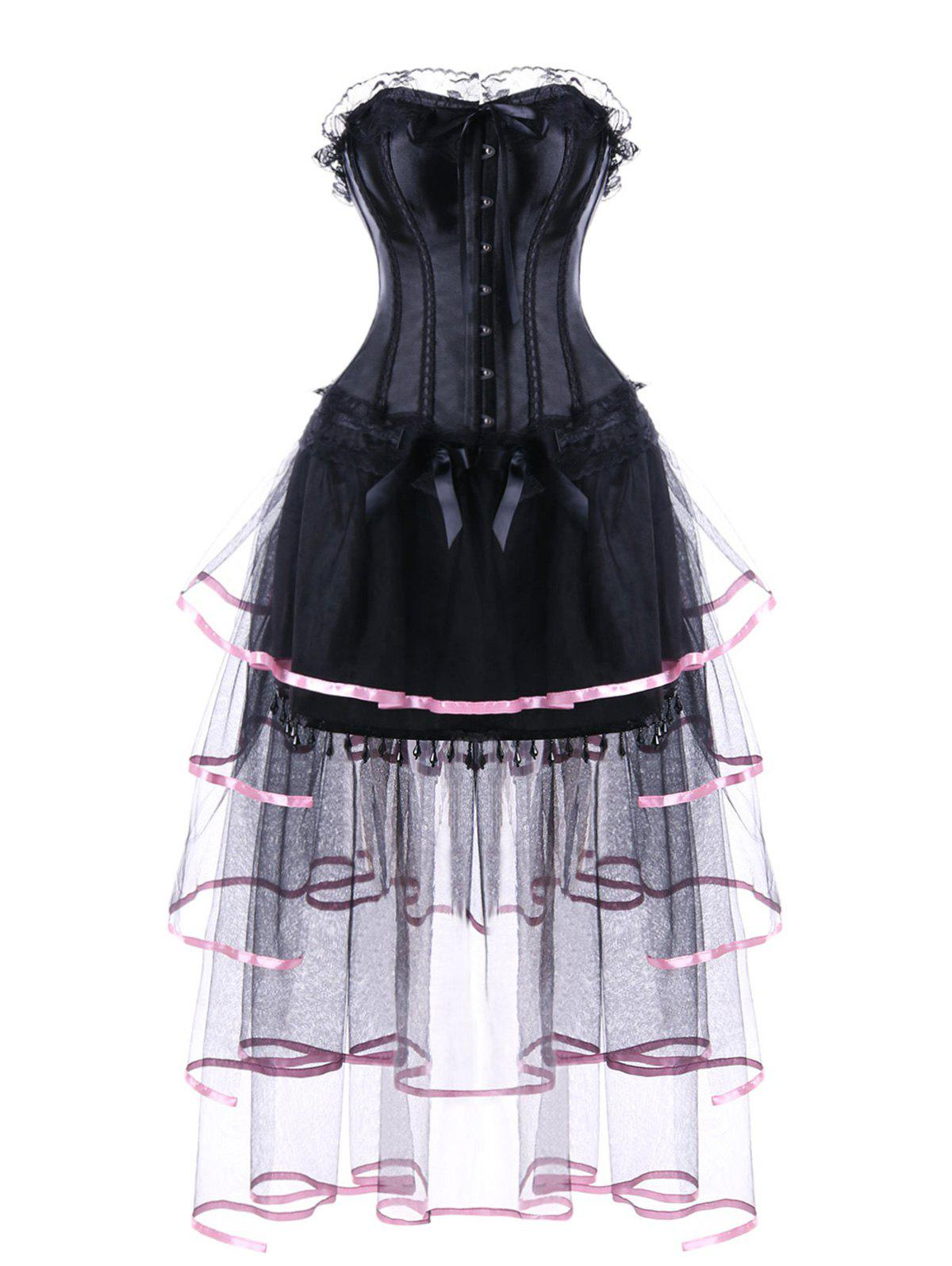 Sheer Mesh Insert Layered Strapless Corset Dress - BLACK M