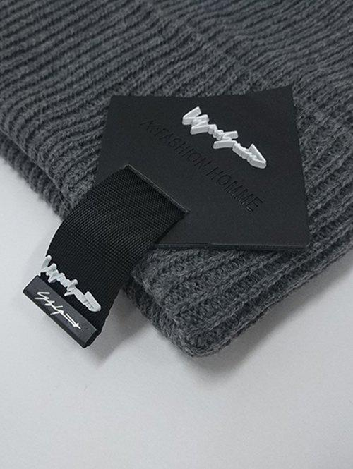Square Letter Label Embellished Crochet Knitted Beanie - GRAY