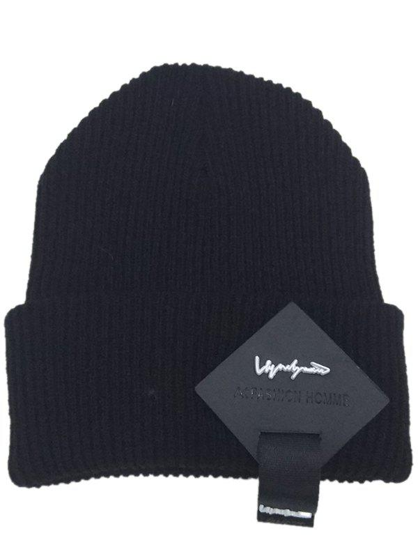 Square Letter Label Embellished Crochet Knitted Beanie - BLACK