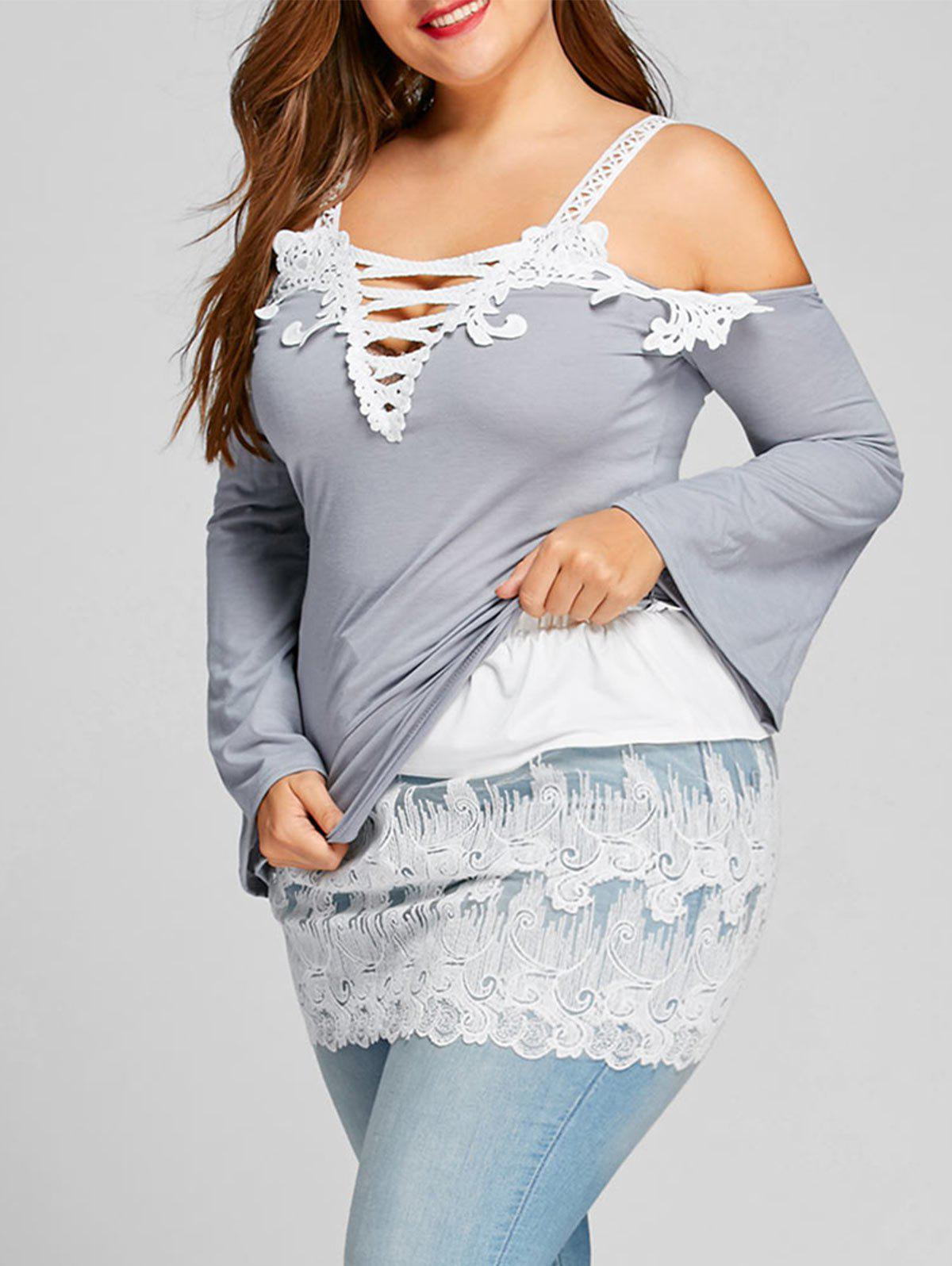 Plus Size Embroidered Lace Extender Skirt - WHITE 3XL