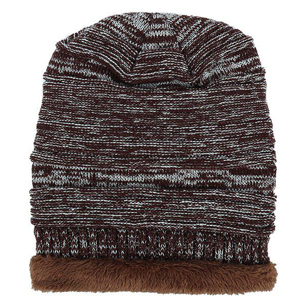 Velvet Colormix Pattern Crochet Knitted Slouchy Beanie - COFFEE