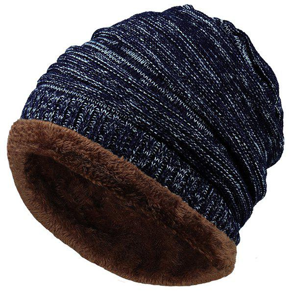 Velvet Colormix Pattern Crochet Knitted Slouchy Beanie - CADETBLUE