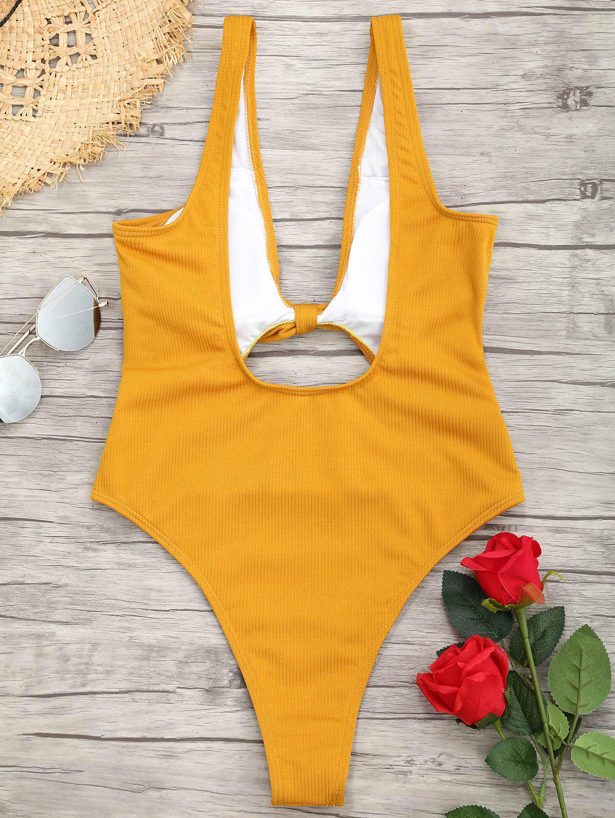 Ribbed Knot Backless One Piece Swimsuit - MUSTARD L
