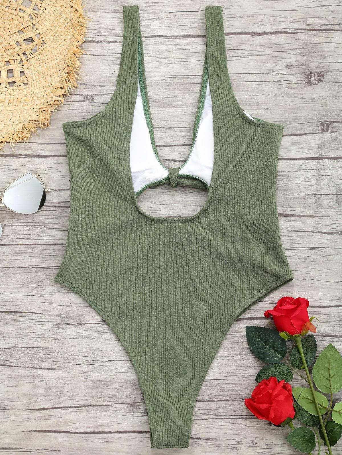 Ribbed Knot Backless One Piece Swimsuit - GREEN M