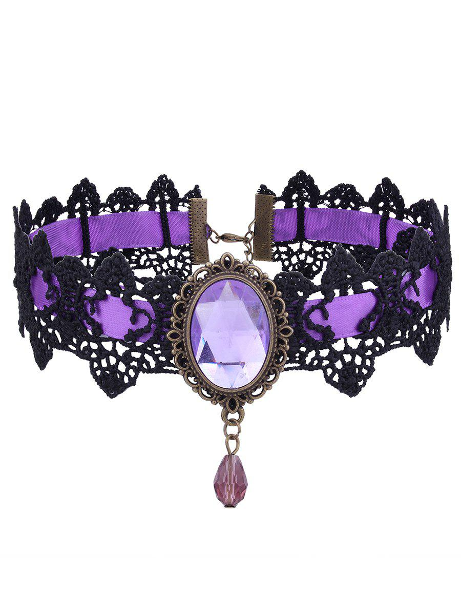 Gothic Faux Gem Oval Lace Choker Necklace gothic faux gem oval lace choker necklace