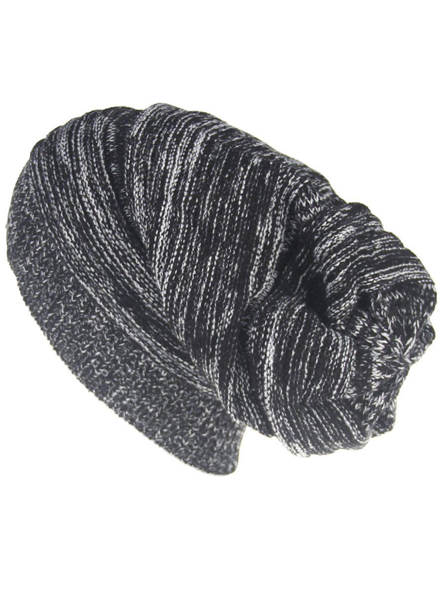 Outdoor Colormix Striped Pattern Thicken Knitted Beanie Hat - BLACK