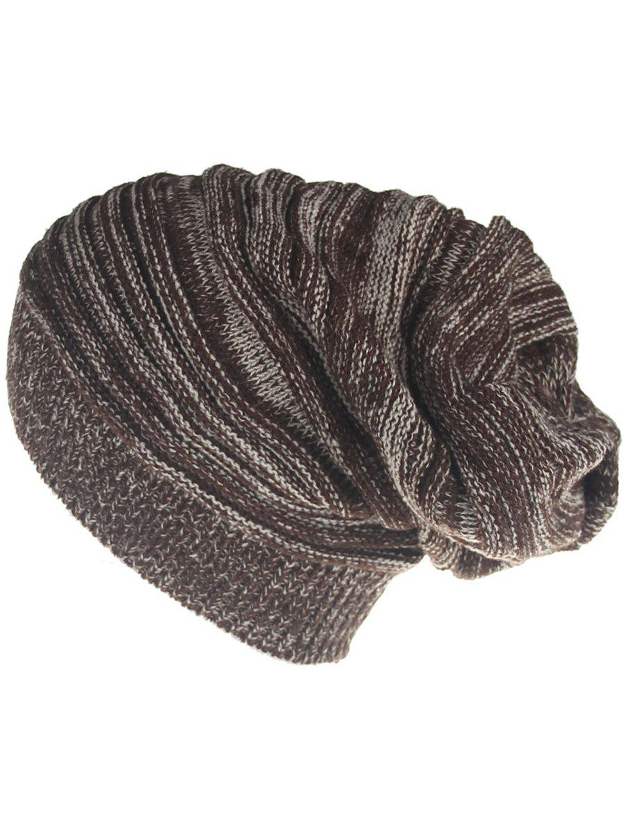 Outdoor Colormix Striped Pattern Thicken Knitted Beanie Hat - COFFEE