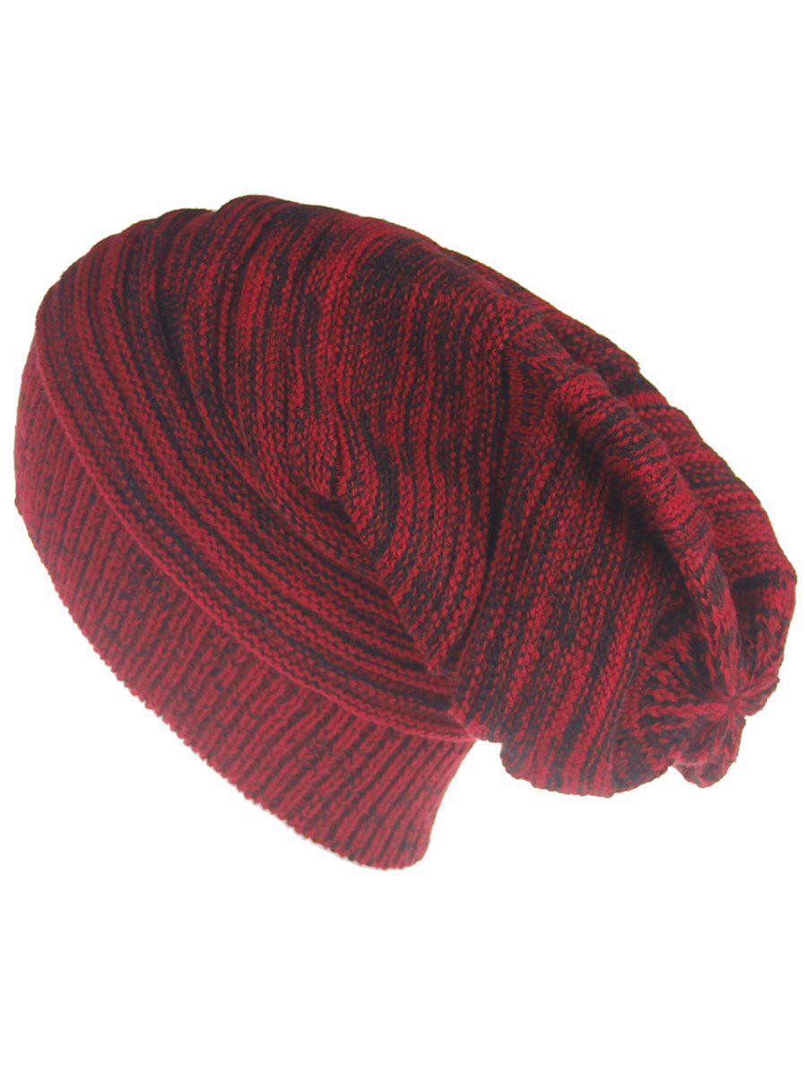 Outdoor Colormix Striped Pattern Thicken Knitted Beanie Hat - RED