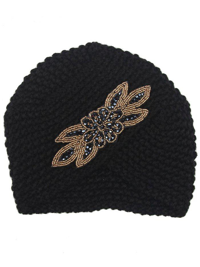 Vintage Artifical Gem Decorated Overlapping Knitted Beanie Hat unisex illest letter hat gorros bonnets winter cap skulies beanie female hiphop knitted hat toucas outdoor wool men pom ball