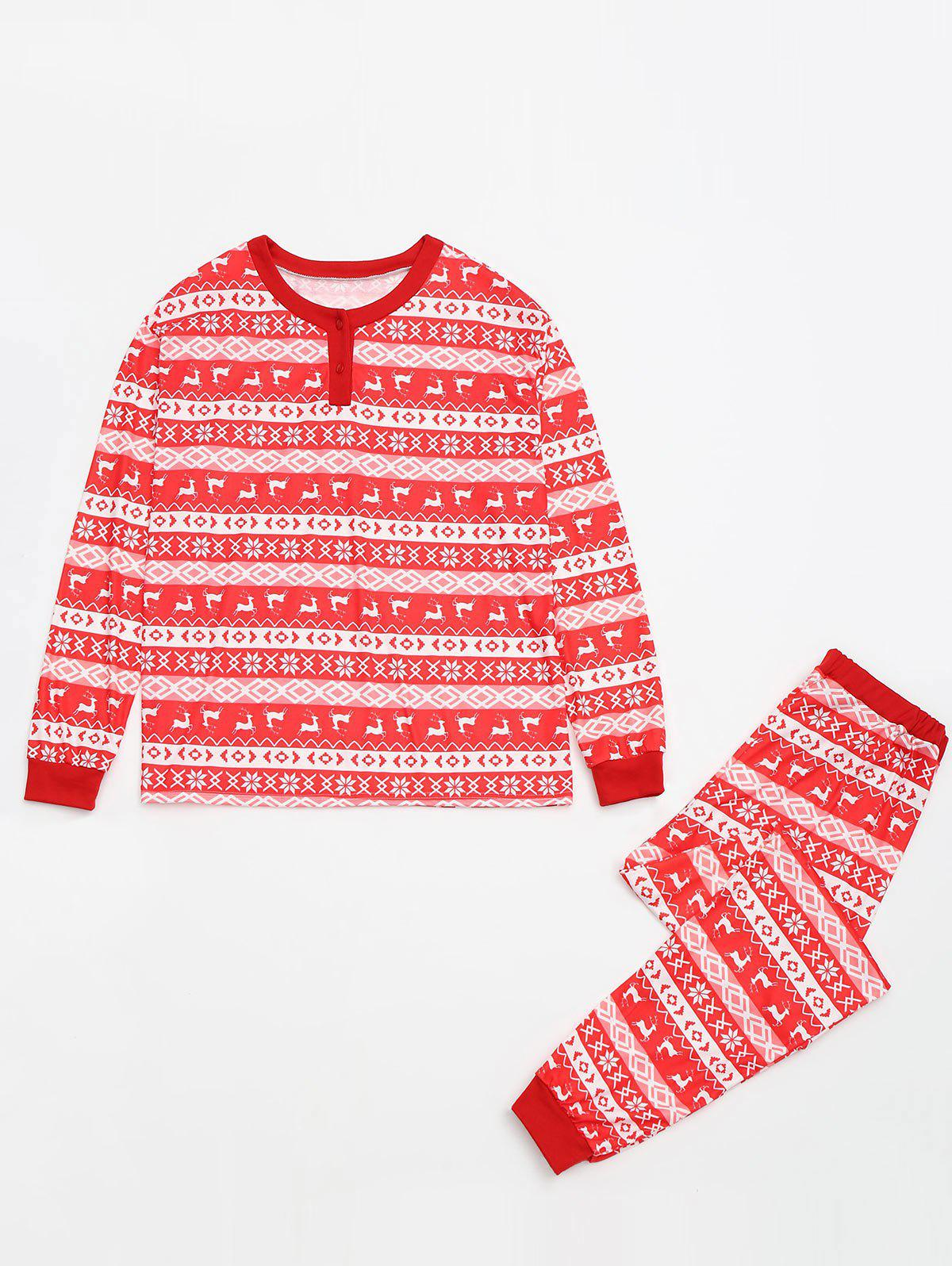 Fair Isle Printed Matching Family Christmas Pajama - RED KID 4T