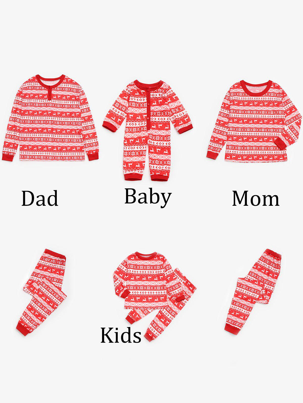 Fair Isle Printed Matching Family Christmas Pajama - RED MOM L