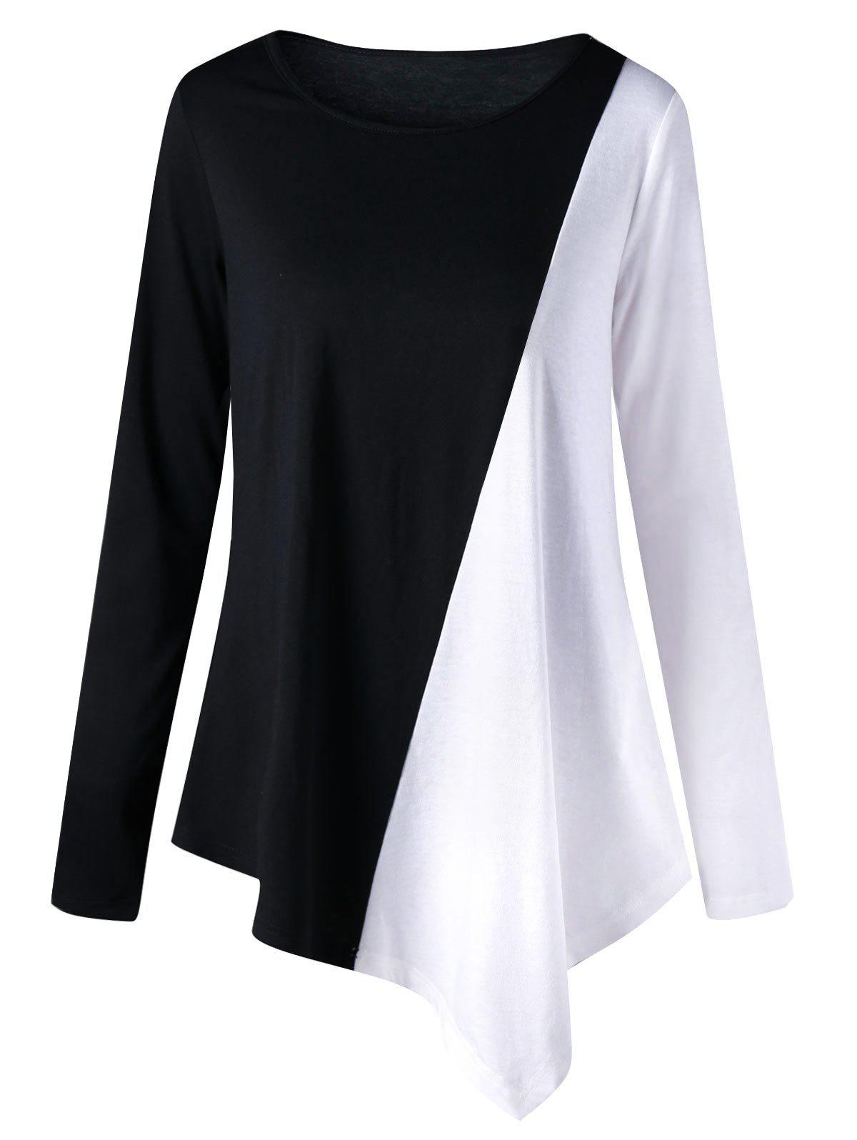 Two Tone Color Long Sleeve Asymmetric Top drop crotch loose two tone pants