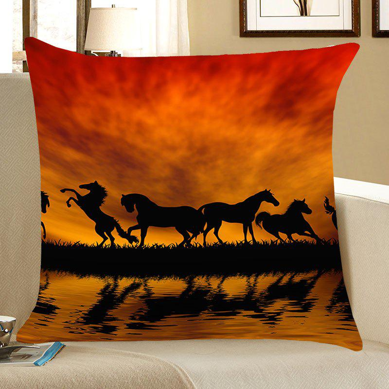 Sunset Running Horses Printed Throw Pillow Case horses