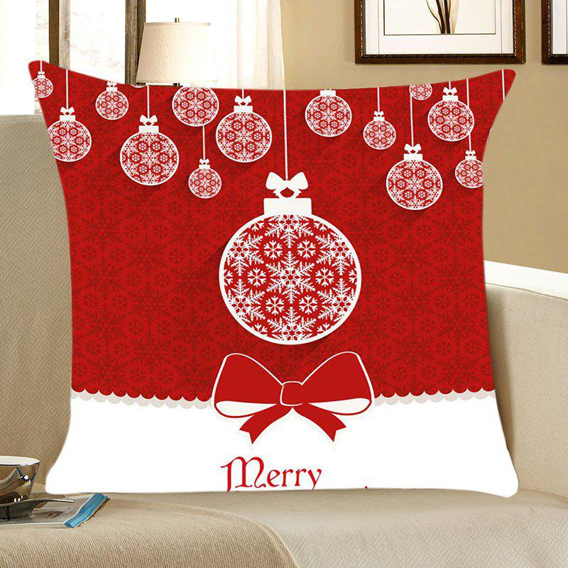 Christmas Balls Print Linen Throw Pillow Case - RED/WHITE W18 INCH * L18 INCH