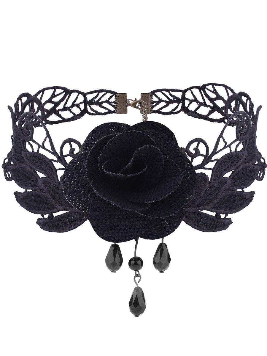 Gothic Flower Knitted Leaf Choker Necklace - BLACK