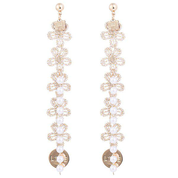 Faux Pearl Love Engraved Knitted Flower Earrings faux opal geometric earrings