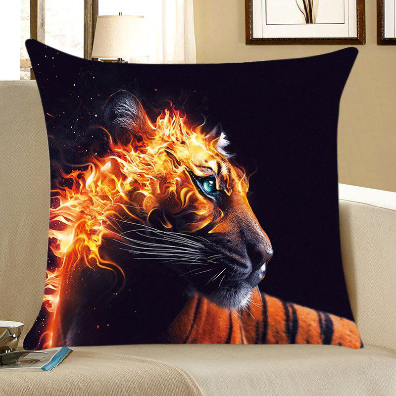 Burning Tiger Patterned Square Throw Pillow Case - BLACK/ORANGE W18 INCH * L18 INCH