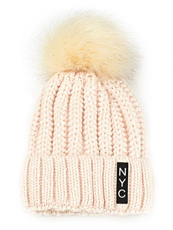 Letter Pattern Embellished Fuzzy Ball Knitted Beanie warm fuzzy ball four leaf clover pattern design knitted hat for women