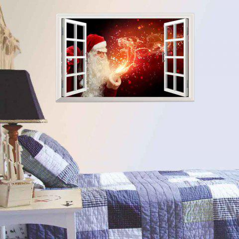 Magic Santa Claus 3D Christmas Decorative Removable Wall Decal - FLAME RED 900*580MM