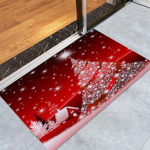 Christmas Tree House Pattern Indoor Outdoor Area Rug - RED W16 INCH * L24 INCH