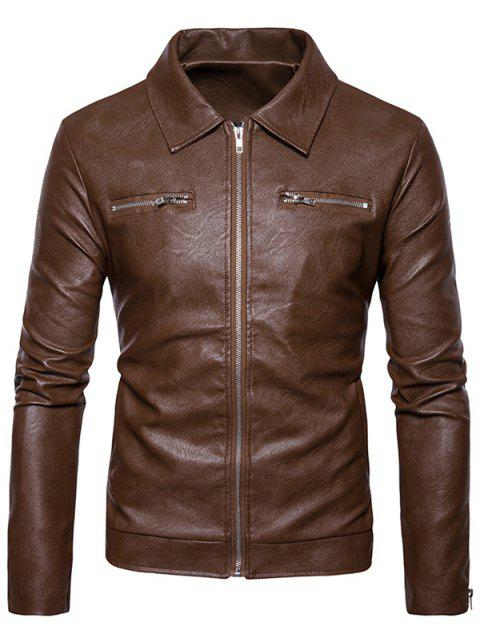 Zip Up PU Leather Jacket - KHAKI M