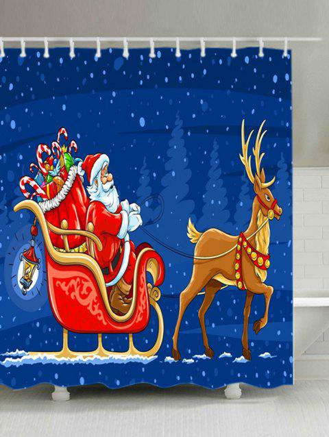Christmas Santa Gift Sleigh Print Waterproof Fabric Shower Curtain - BLUE W71 INCH * L79 INCH