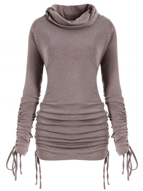 Sweat-shirt Long Convertible Grande Taille - chameau XL