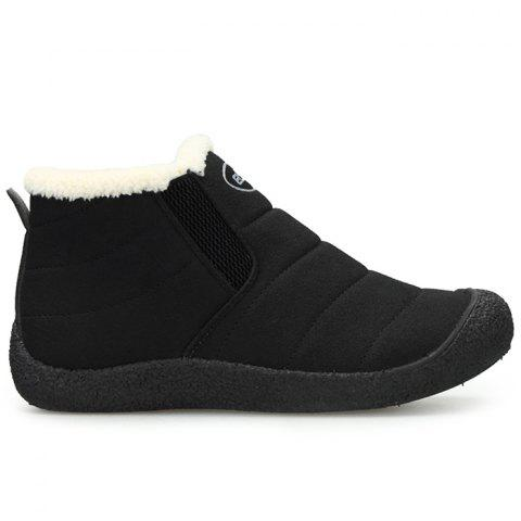 Faux Fur Lining Slip On Warm Snow Boots - BLACK 40