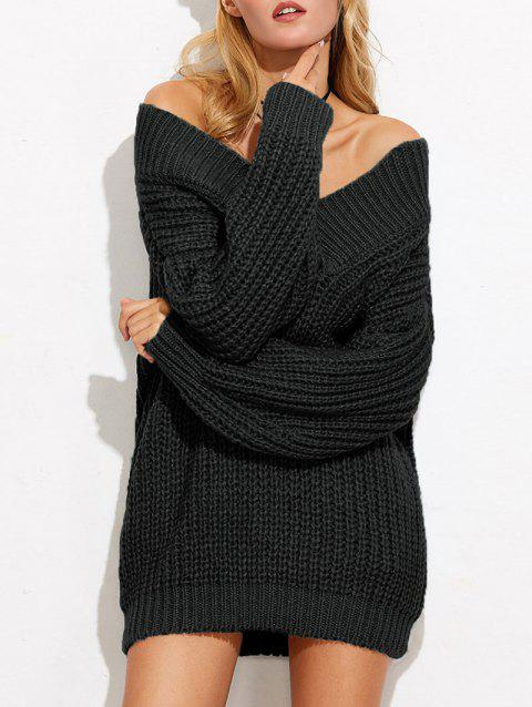 Mini Off The Shoulder Chunky Sweater Dress - BLACK ONE SIZE